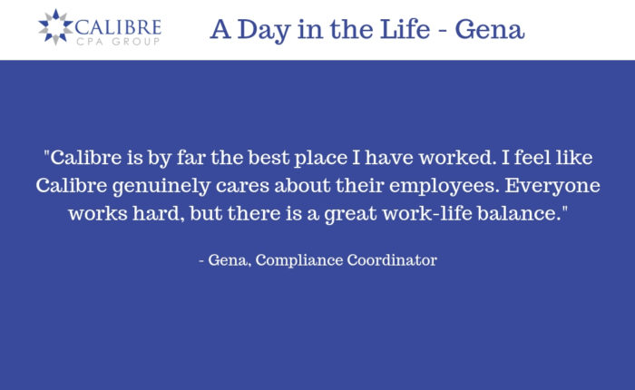 A Day in the Life - Gena, Compliance Coordinator - Calibre CPA Group