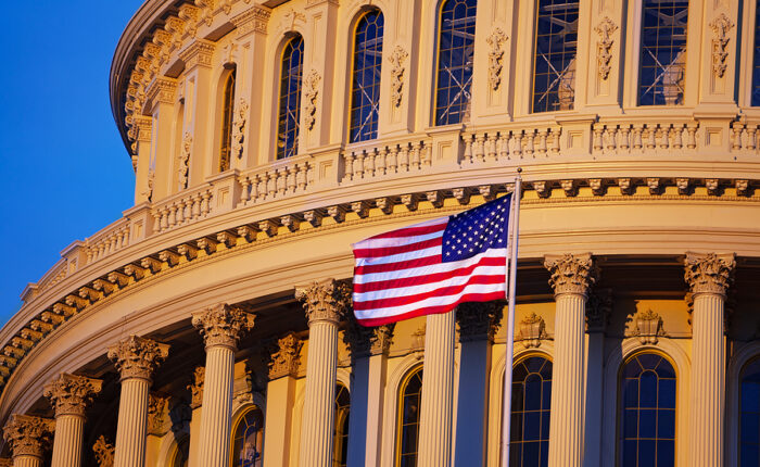 US Flag Over the United States Capital